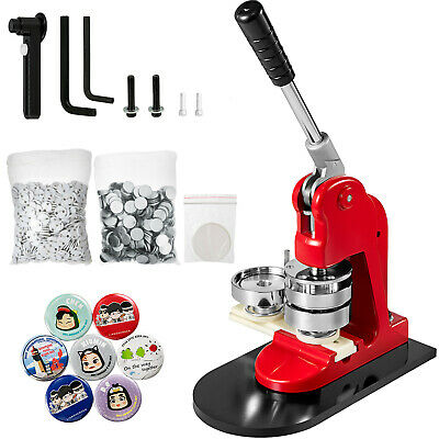 "1"" 25mm Badge Button Maker Machine Press+ 500 Parts + Circle Cutter CA Shipping"