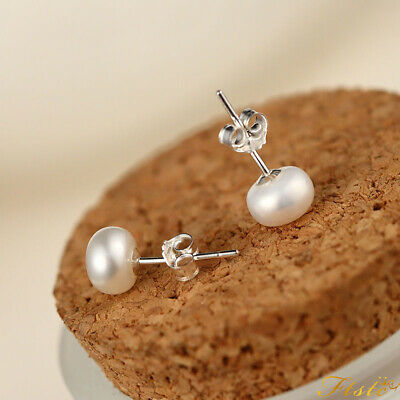 Set:925 Sterling Silver Freshwater Pearl Stud Earrings Wholesale Price Gift New