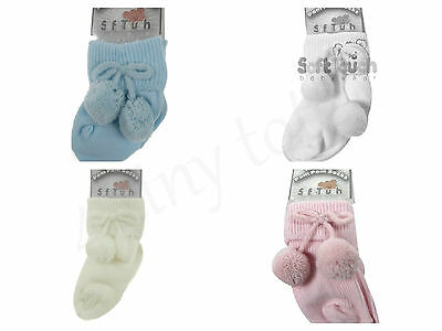Baby Ribbed Pom Pom Ankle Socks Spanish Style 3-18 mths  Pink White Cream Blue