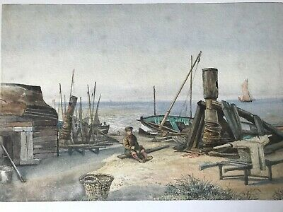 Southwold Water Colour, Late 19th Early 20thC, Boatyard, Windlass'
