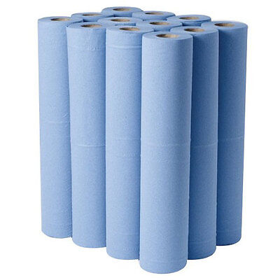 """12x2PLY 20"""" HYGIENE COUCH ROLLS BLUE 40M"""