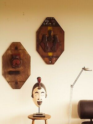 A pair of Kurt Schwitters style wall sculptures Mid Century Modern Art Retro era