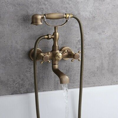 Wall Mount Clawfoot Tub Filler&Handheld Set Antique Brass Bathroom Shower Faucet