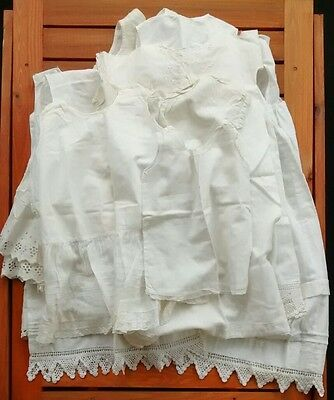 Vintage Antique Handmade Girls and Baby White Cotton Handmade Slips Crochet Lace