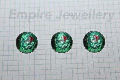 2 x Harry Potter Slytherin Badge 12x12mm Glass Cabochons Cameo Hogwarts Magic