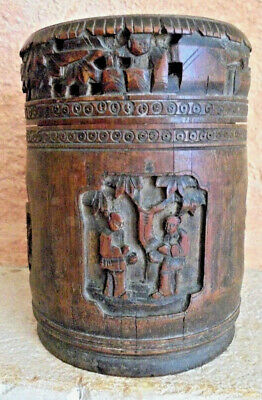 tea box, SIGNED  boite a thé CARVED bamboo ,chine asia wiet indochine,no bitong
