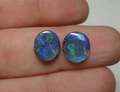 Lapidary: 3.65 CT Natural 2 X Polished Solid Boulder Opals - Earring Pair