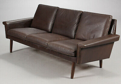 VINTAGE DANISH RETRO THAMS STYLE 3 SEATER COCO LEATHER SOFA 1960,s