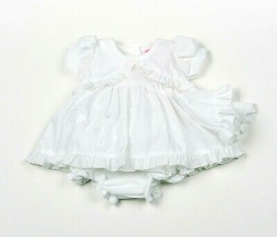 Tiny Baby Premature Dress Summer White Mop Hat Pants 3 Pc Set Floral 3 5 8 NB 73