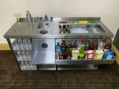 Deluxe Cocktail Bar Station, Stainless Steel, with Fully Insulated Ice Well Unit