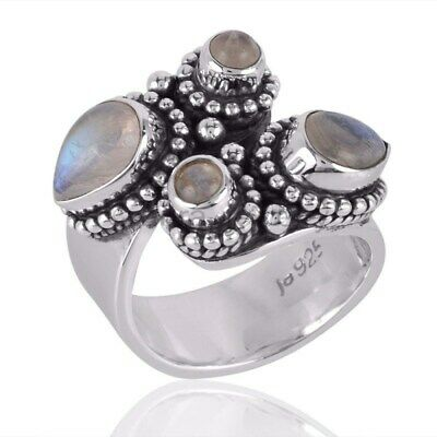 Rainbow Moonstone Gemstone And 925 Sterling Silver Ring - ANY SIZE 4 TO 12