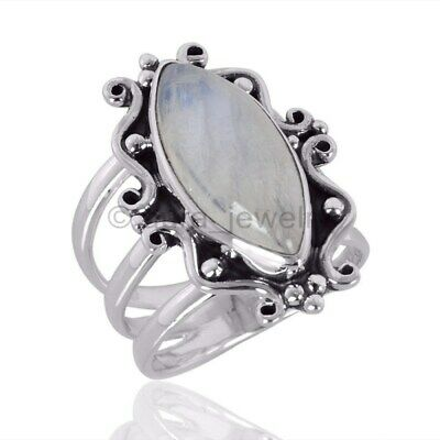 Rainbow Moonstone Gemstone 925 Sterling Silver Ring - ANY SIZE 4 TO 12