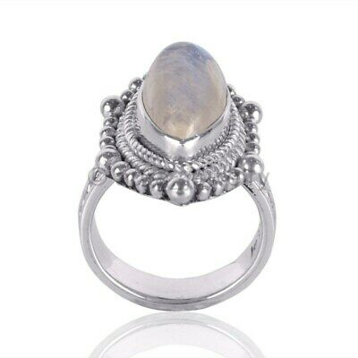 Rainbow Moonstone Gemstone 925 Sterling Silver Designer Ring - ANY SIZE 4 TO 12