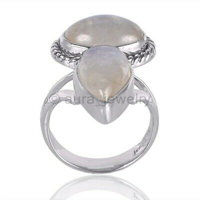 Natural Rainbow Moonstone Gemstone 925 Sterling Silver Ring - ANY SIZE 4 TO 12