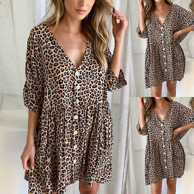 Womens Holiday Leopard Print Button V Neck Mini Dress Ladies Summer Beach Tops