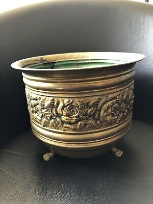 """Vintage Brass Bronze Made in England Planter Clawfoot Roses Floral Pot 8 x 10"""""""