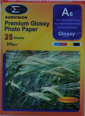 Sumvision A6 200gsm Premium Gloss Photo Paper (25, 50, 100, 200, 400 Sheets)