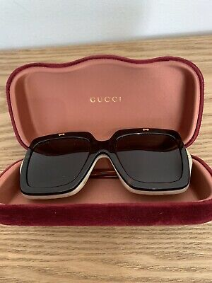 fbf7d05ba2 Gucci GG 0088S 001 Flip Up Havana Beige Plastic Square Sunglasses Brown Lens
