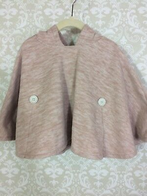 Old Navy Poncho 2T light pink/creamy color hood buttons sleeves spring pre-owned