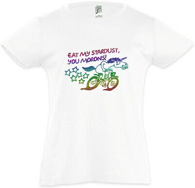 Eat My Stardust You Morons Kids Girls T-Shirt Unicorn Unicorns Nerd Fun Cyclist