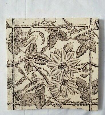 Trellis Aesthetic Floral Design English Victorian Tile. 19Th Century