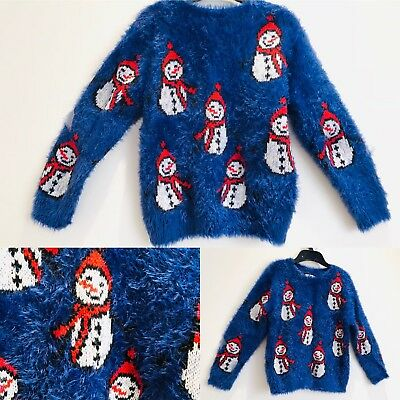 Girls Thick Christmas Jumper NEXT Fluffy Blue & Red Snow Man Age 5 Years Immacul