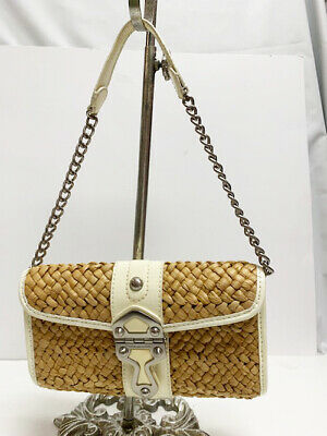 361f27c5ef58 Michael Kors Small Cream Patent Leather & Straw Weave Clutch Shoulder Bag  Purse