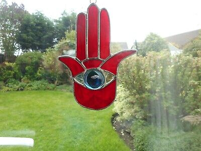 Stained Glass Hamsa Suncatcher or Wall Hanging