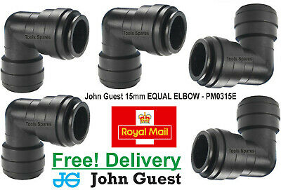 John Guest 15mm Equal Elbow Speed-Fit Push-Fit Connector PM0315E X 5 L@@K! WOW