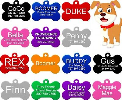 Engraved Pet Tags Aluminium DOG/CAT ID Bone 10 Colours Engraving Identity UK