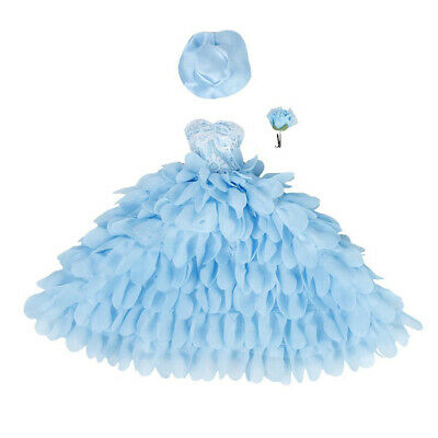 Wedding dress and hat with flower for Barbie dolls (blue) T3O2