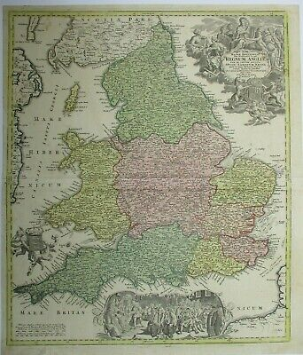 Antique Map of England and Wales by Johann Homann 1744