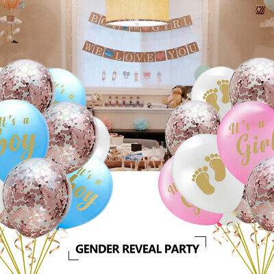 Baby Shower Girl or Boy Pink Blue Balloons Decorations Bunting Pompoms