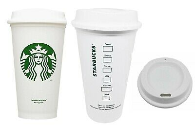 STARBUCKS Reusable  Recyclable Grande 16 oz Plastic Hot Cup Coffee Tea Authentic