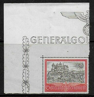 Poland 1941 10 zloty Black and Red with corner selvedge - MNH (stamp is sf)
