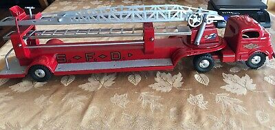 Vintage 1950's Structo Toys Ladder Fire Truck  S F D Truck Red Pressed Steel