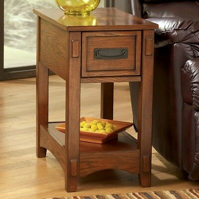 Mission Style Side Table Oak Wood Rustic Lodge Sofa Storage Chairside Furniture