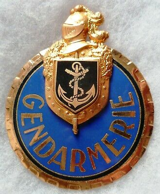 Plaque de baudrier Insigne GENDARMERIE MARITIME émail OBSOLETE Collection