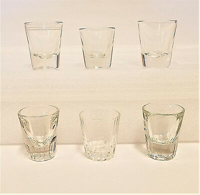 Vintage Thick Shot Glass Clear Barware Glasses Mixed Lot of 6