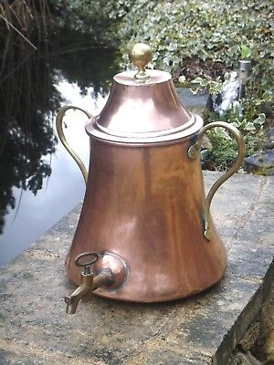 Large Antique French copper Samovar Tea Urn Hot Water 19th century dovetailed