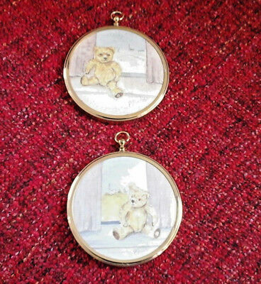PAIR miniature watercolour painting of teddy bear for child's nursery oval frame
