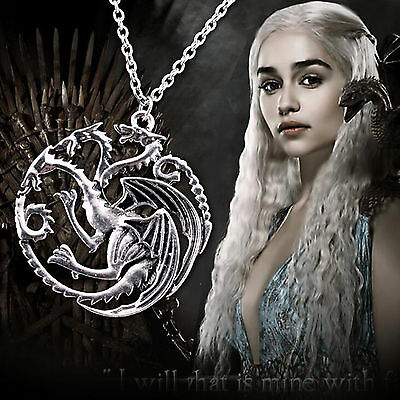 Game Of Thrones Targaryen Dragon Badge Pendants Chain Necklace Jewelry Khalessi