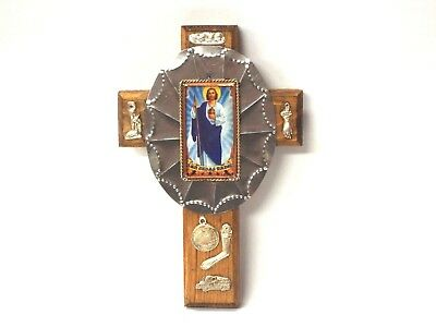 St Jude Wooden Cross with Milagros -   Mexican Folk Art - Santos