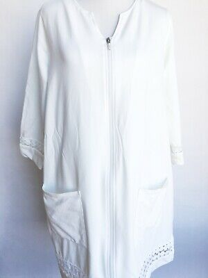 c9b1056d9c WOMENS WHITE TERRY ROBE Swim Cover Up SUPER SOFT Zip Up SIZE S M L ...