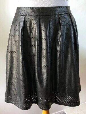 d675d40f0e Worthington Black Faux Leather Perforated Pleated Knee Length Skater Skirt  Sz 12