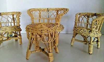 Vintage 4 Piece Wicker Doll House Furniture Table and 3 Chairs