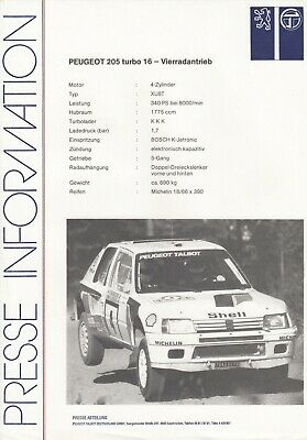 Manuals & Literature Ebay Motors Peugeot 205 Turbo 16 4x4 Rallye Motorsport Prospekt Brochure Sheet 74