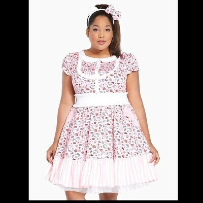 0f812fabf9e Torrid Hello Kitty NWT NEW kawaii 16 1x 2x dress   headband bow plus size  RARE