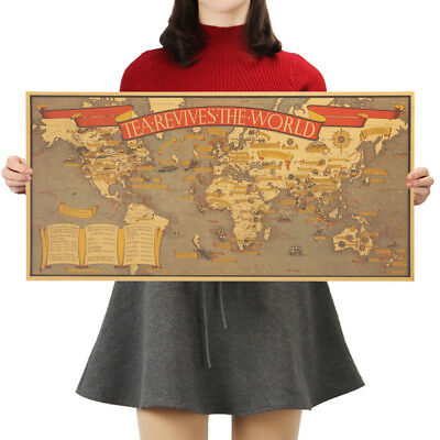 Map of Tea Culture Tea Revives The World Kraft Paper Poster