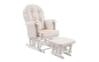 NEW Comfy Baby Nursery Cream Feeding Nursing Chair And Stool With White Frame